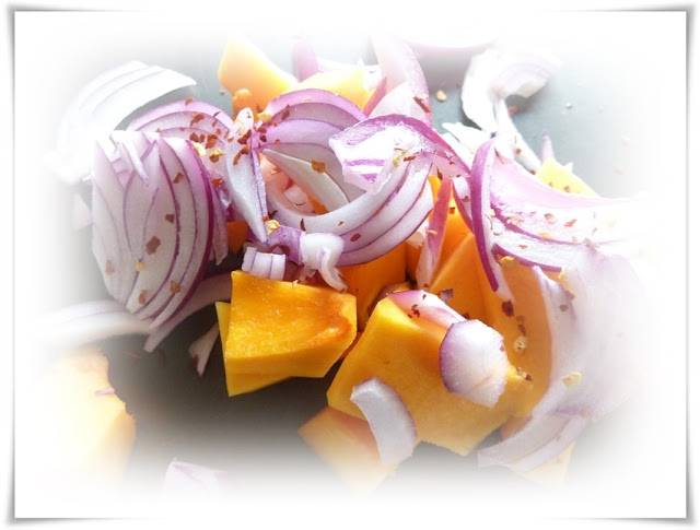 butternut squash with red onions and chilli