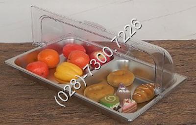 Khay trưng bày thức ăn chữ nhật 2 ngăn có nắp