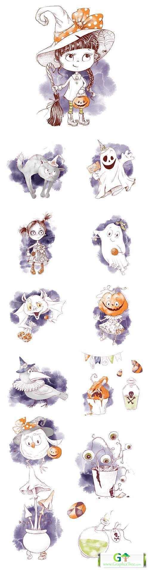Halloween cute watercolor illustrations with cartoon characters