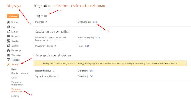 Cara Mengaktifkan Deskripsi Penelusuran Di Postingan Blog