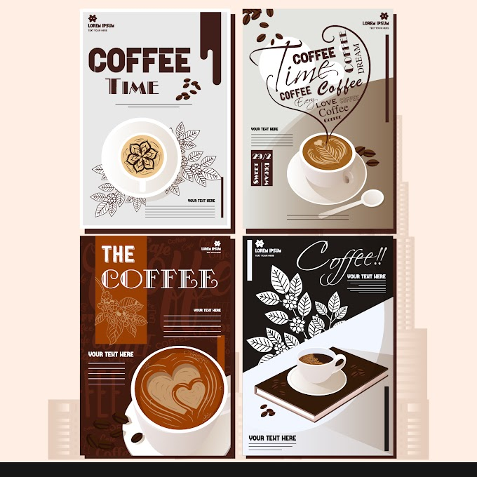 Coffee menu cover templates elegant cups decor Free vector