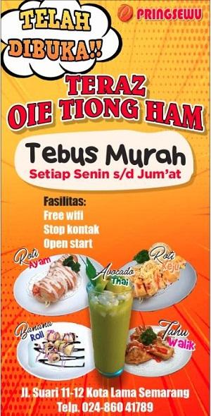 Menu yang bisa dinikmati di Teraz Oei Tiong Ham