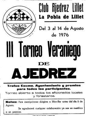 Cartel del III Torneo veraniego de Ajedrez de La Pobla de Lillet, 1976