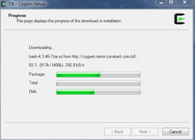 Installation process of the Cygwin