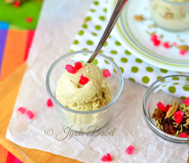 Paan Ice Cream is an ice-cream flavoured with the Indian meetha paan. This ice-cream has the unique flavour of freshly ground betel leaves and an assortment of flavouring spices.