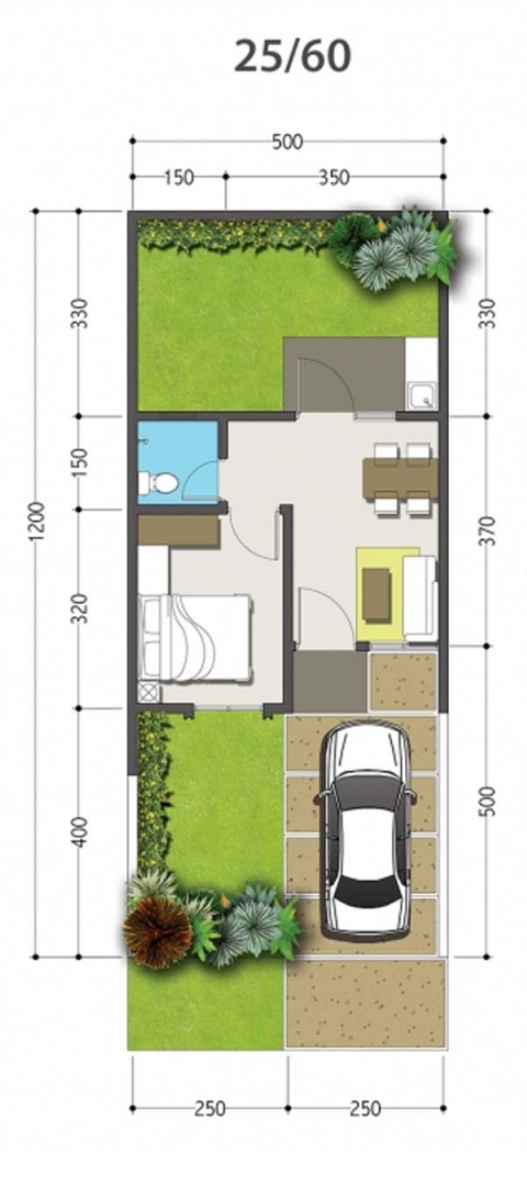 Denah Rumah Minimalis Ukuran 5x12 Meter 1 Kamar Tidur 1 Lantai
