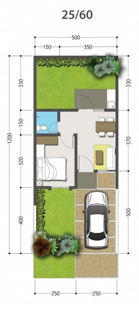 Denah rumah minimalis ukuran 5x12 meter 1 kamar tidur 1
