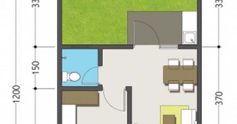 Lingkar Warna Denah Rumah Minimalis Ukuran 5x12 Meter 1 Kamar Tidur 1 Lantai Tampak Depan
