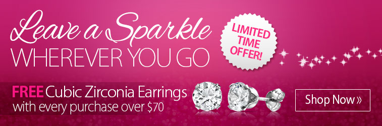 Free Cubic Zirconia Earrings with Every Purchase Over $70