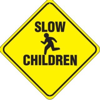 Señál de advertencia. Niños lentos