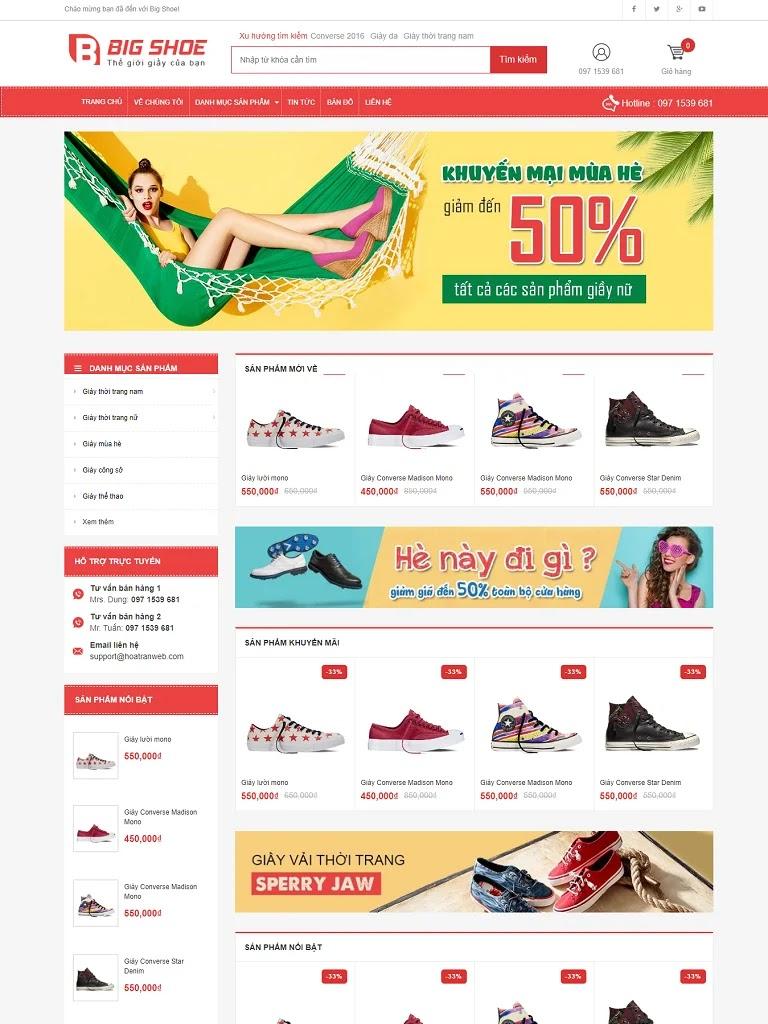 Template blogspot bán giày chuẩn seo big shop