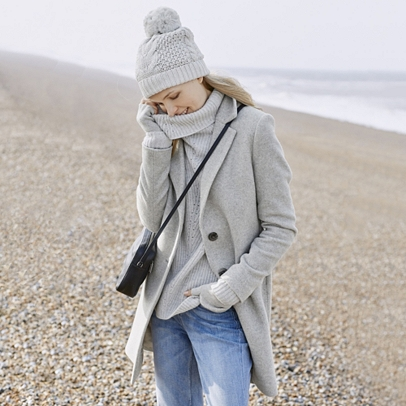 The White Company Blurred Herringbone Coat