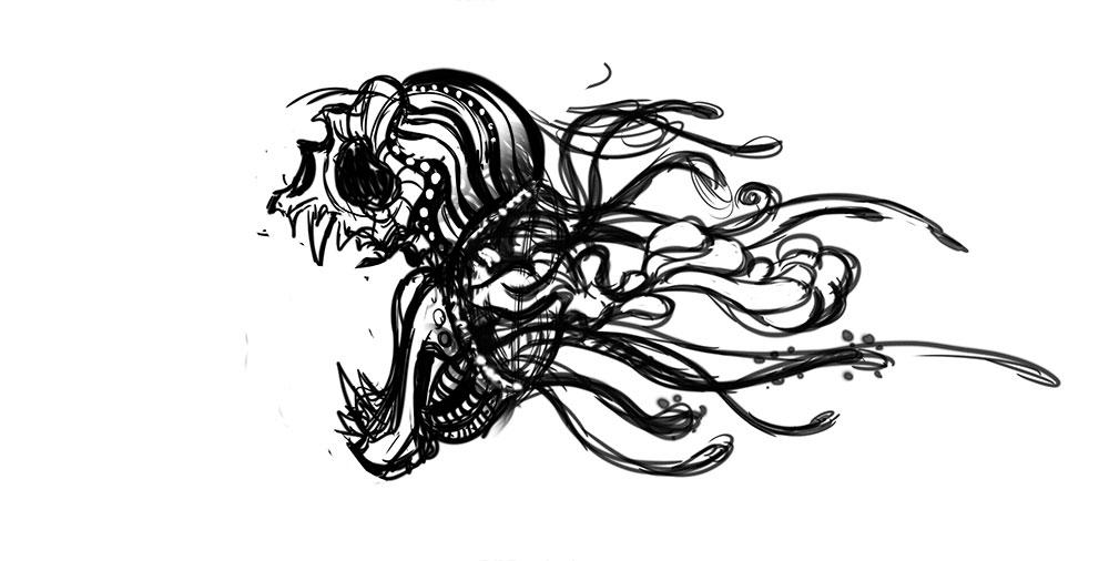 Boceto de la Muerte Roja - Videojuego Allan Poe
