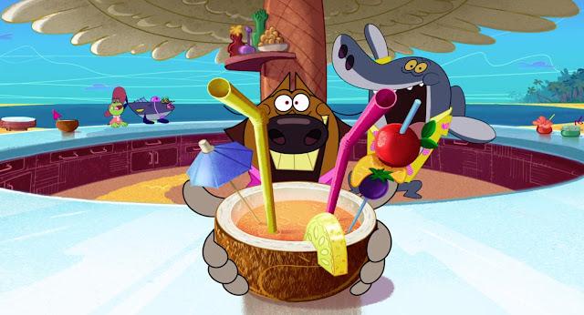 Zig nos ofrece un coco con bebida dentro, esta decorado con una rodaja de piña, una brocheta con frutas y dos pajitas y una sombrilla. Sharko esta al fondo feliz con camisa Hawaiana