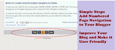 Blogger numbered page navigation