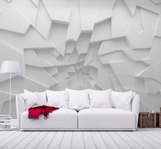 3D wallpaper designs for walls with LED and fluorescent highlighting
