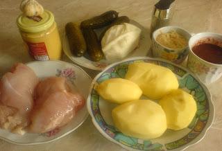 retete cu piept de pui cartofi castraveti murati mustar usturoi si kethup, retete culinare,