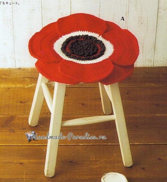 Сидушки для стула, с подсолнухами, маками и герберами (3)