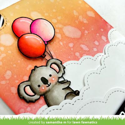 Peekaboo Koala Card by Samantha Mann, Lawn Fawn, Distress Ink, interactive, Pull Tab, #lawnfawn #valentinesday #handmadecard #iloveyou