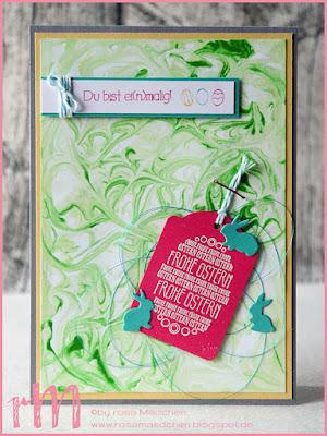 Stampin' Up! rosa Mädchen Kulmbach: Osterkarte mit Marmoreffekt (Rasierschaumtechnik), Etikettanhänger und Ei(n) schönes Osterfest