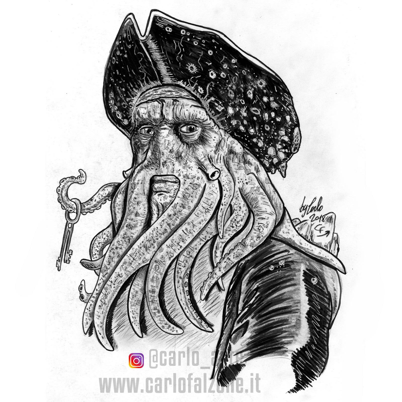 Pirati Dei Caraibi Disegno.Carlo Falzone Davy Jones I Pirati Dei Caraibi