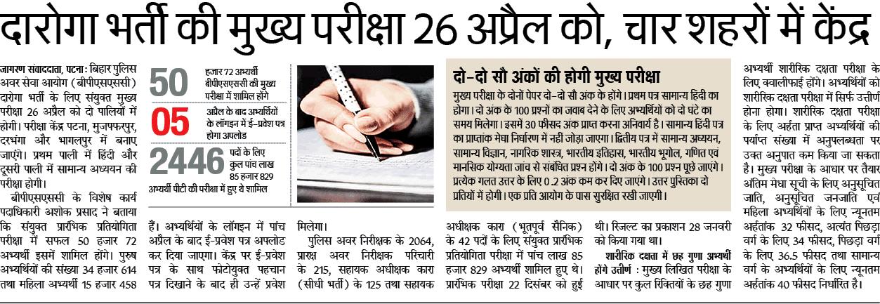 दारोगा भर्ती की मुख्य परीक्षा 26 अप्रैल को, चार शहरों में केंद्र