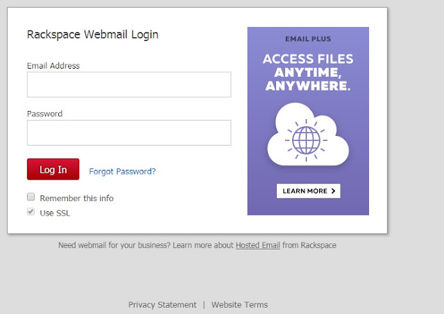 Rackspace Webmail login with email address and password
