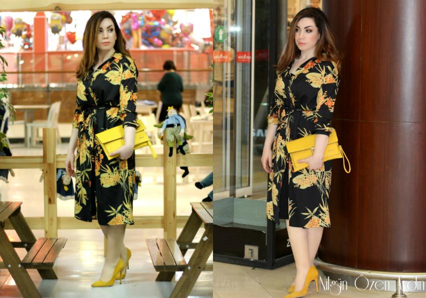 alışveriş-gömlek elbiseler-sarı clutch-sarı stiletto-moda-Zaful