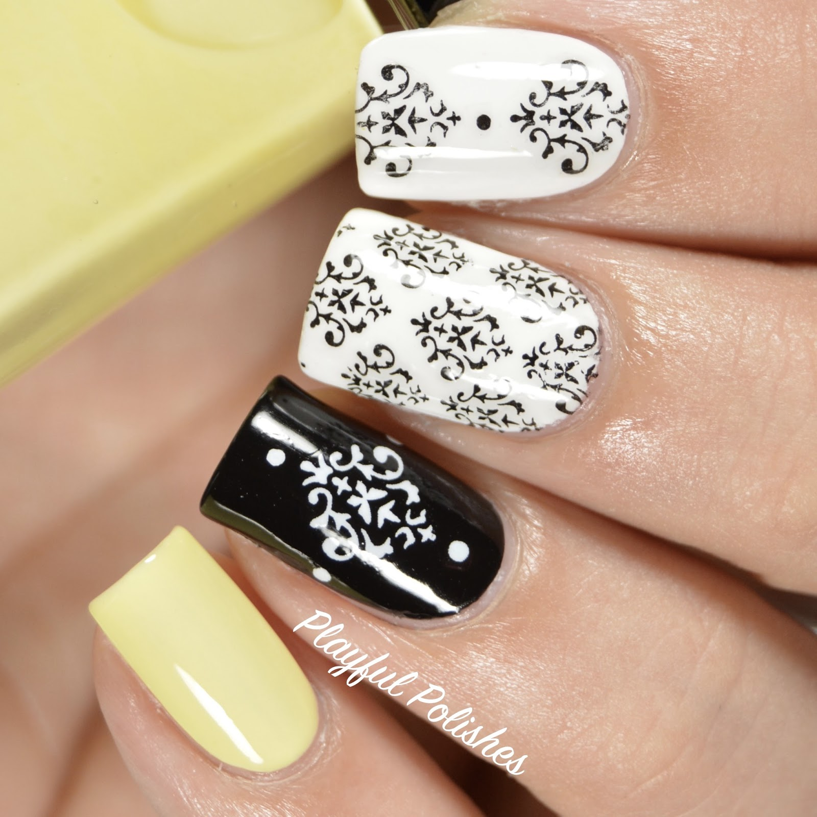 Playful Polishes Damask Nail Art Born Pretty Store Review Ds 264