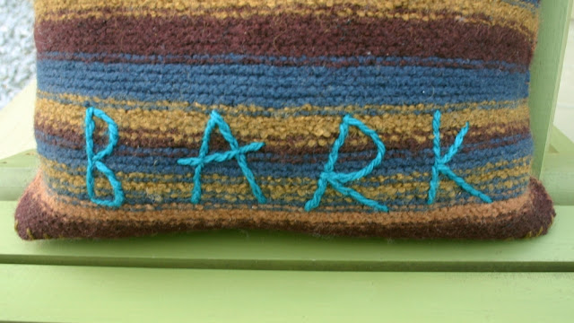 'Bark' Felted Knit Pillow with split stitch detail