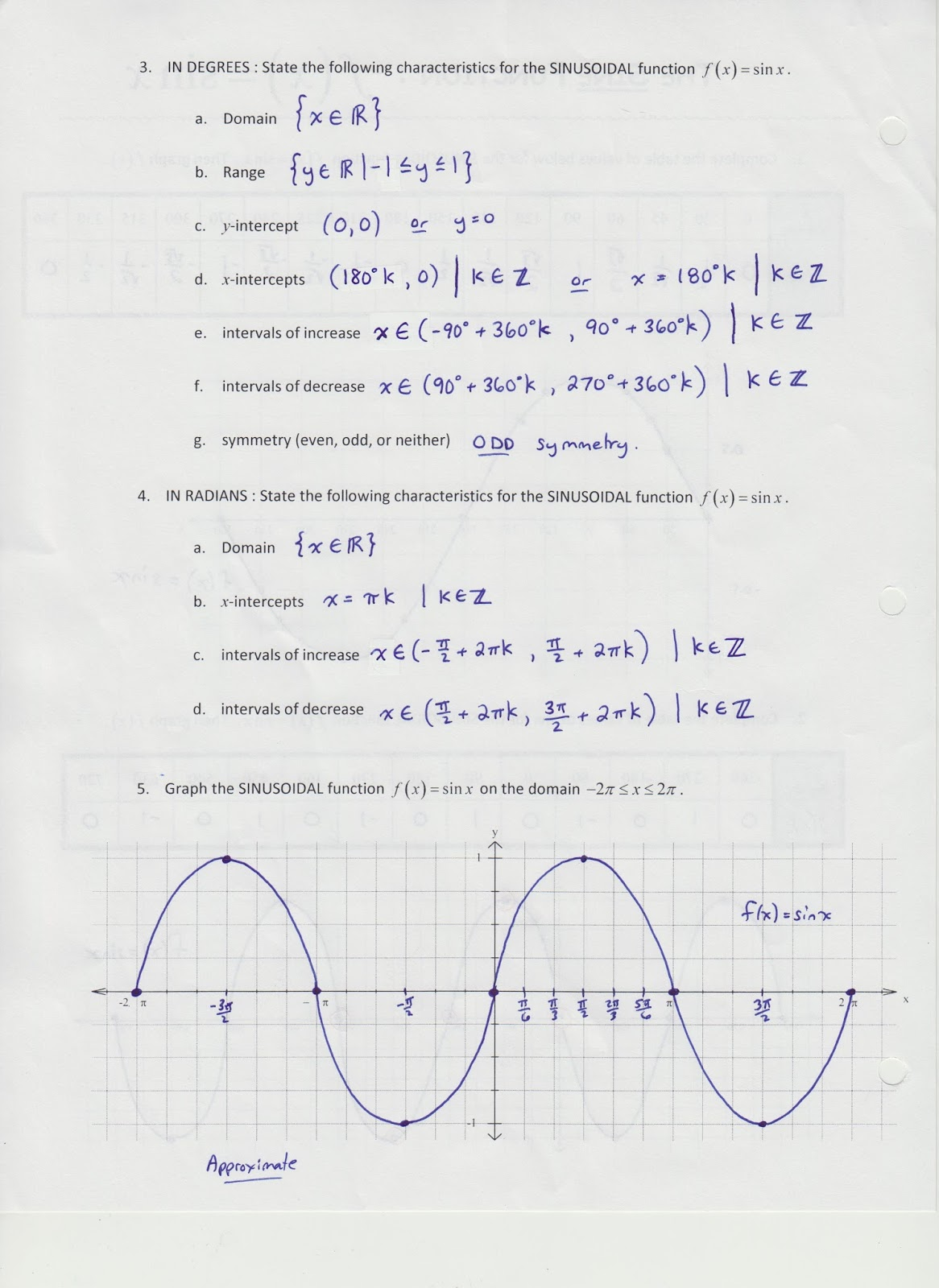 Grade 11 Functions Trigonometry Test