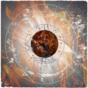 Imagen de un planeta rodeado de fuego y símbolos del zodiaco
