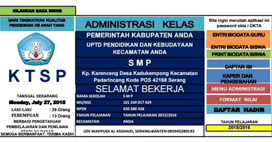 Download Aplikasi Administrasi Kelas Tingkat Smp Ktsp Xls