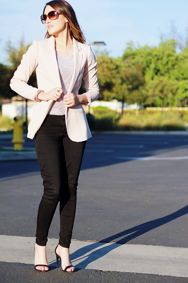 Blush Blazer + Black Pants Outfit