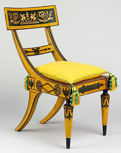 4 Tablet Back Side Chair Attributed To John And Hugh Finlay Active 1800 1833 1815 1820 Baltimore Maryland Maple With Painted Decoration