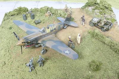 Diorama P-40E d'Hasegawa au 1/48.
