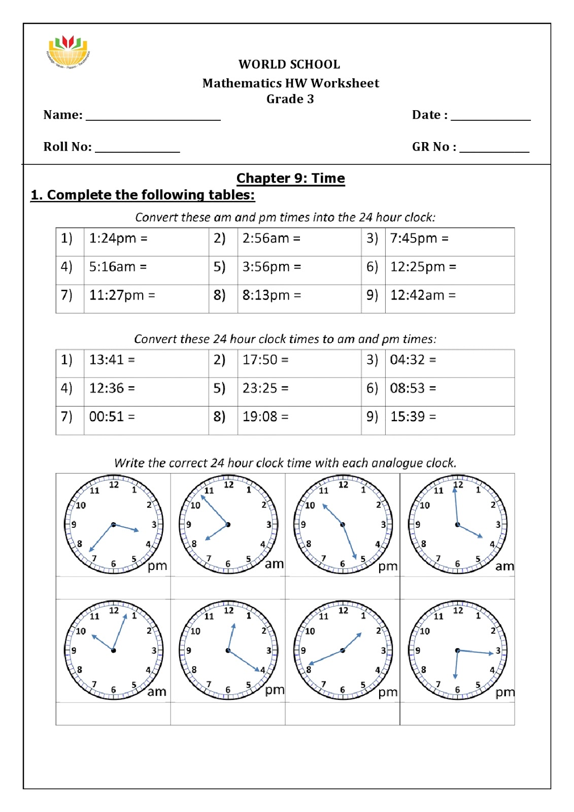 Birla World School Oman Homework For Grade 3 As On 16 01