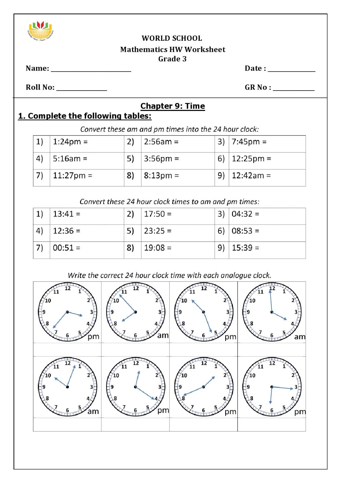 Birla World School Oman Homework For Grade 3 As On 16 01