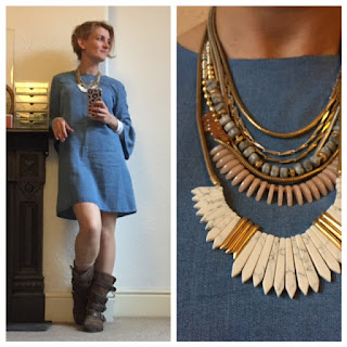 Zara denim dress and Stella and Dot Ezra necklace