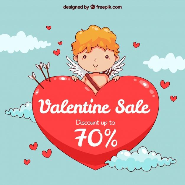 Valentine's day sales Free Vector
