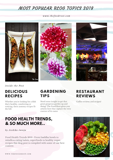Most Popular Blog Topics 2018 : Delicious recipes, Gardening tips, Restaurant reviews, Food health trends & so much more...
