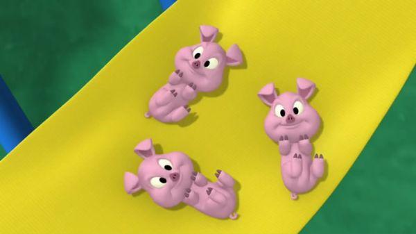 GOOFY [singing]: We got three little piggies in a blanket