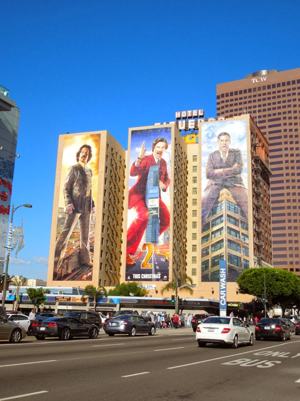 Giant Anchorman 2 billboards Downtown LA