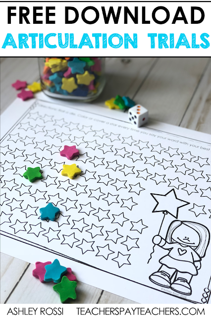 FREE download for using mini erasers in articulation therapy