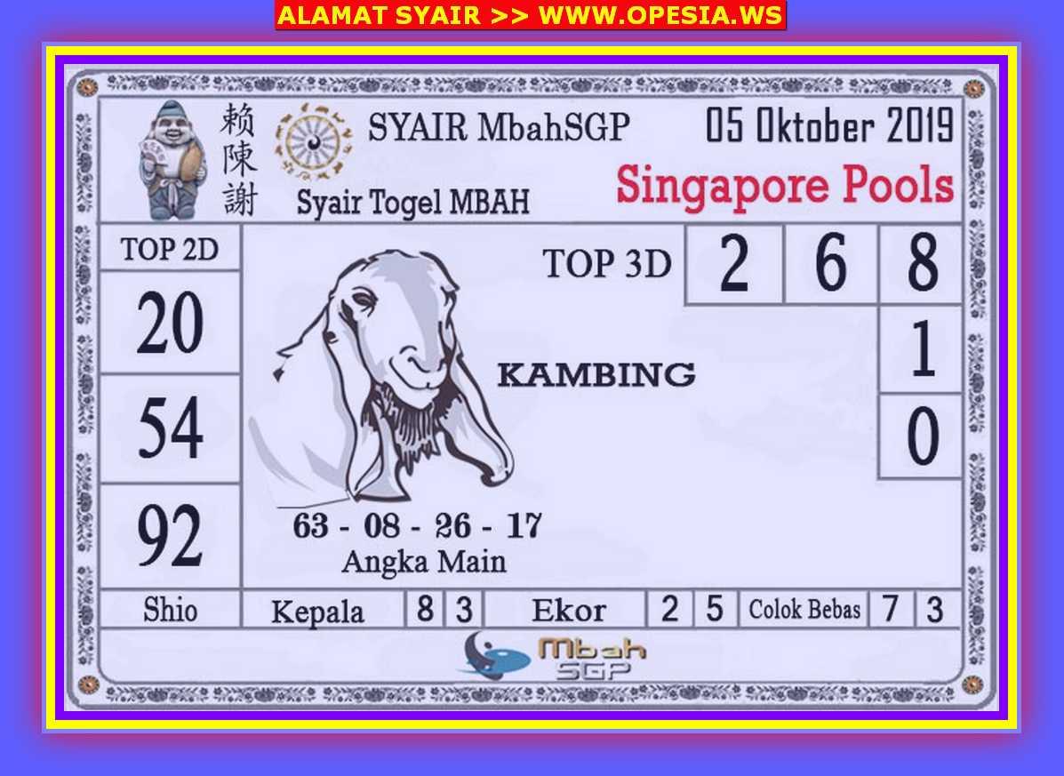 Kode syair Singapore Sabtu 5 Oktober 2019 51