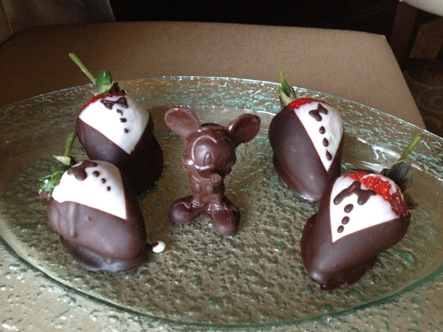 Chocolate dipped strawberries and chocolate Mickey
