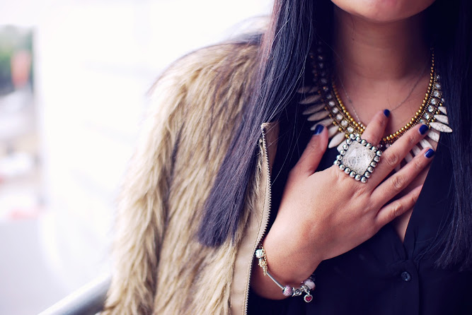 Nasty Gal Fur Jacket Sistaco Ring Necklace