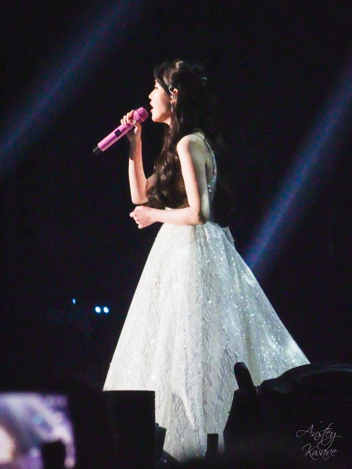 Famous Korean k-pop singer IU singing on stage at Melon Music Awards (MMA) 2017 in Seoul, South Korea