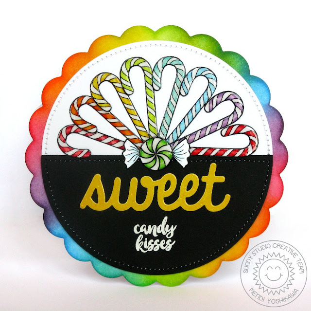 Sunny Studio Stamps: Mug Hugs Rainbow Candy Cane Shaped Card by Mendi Yoshikawa
