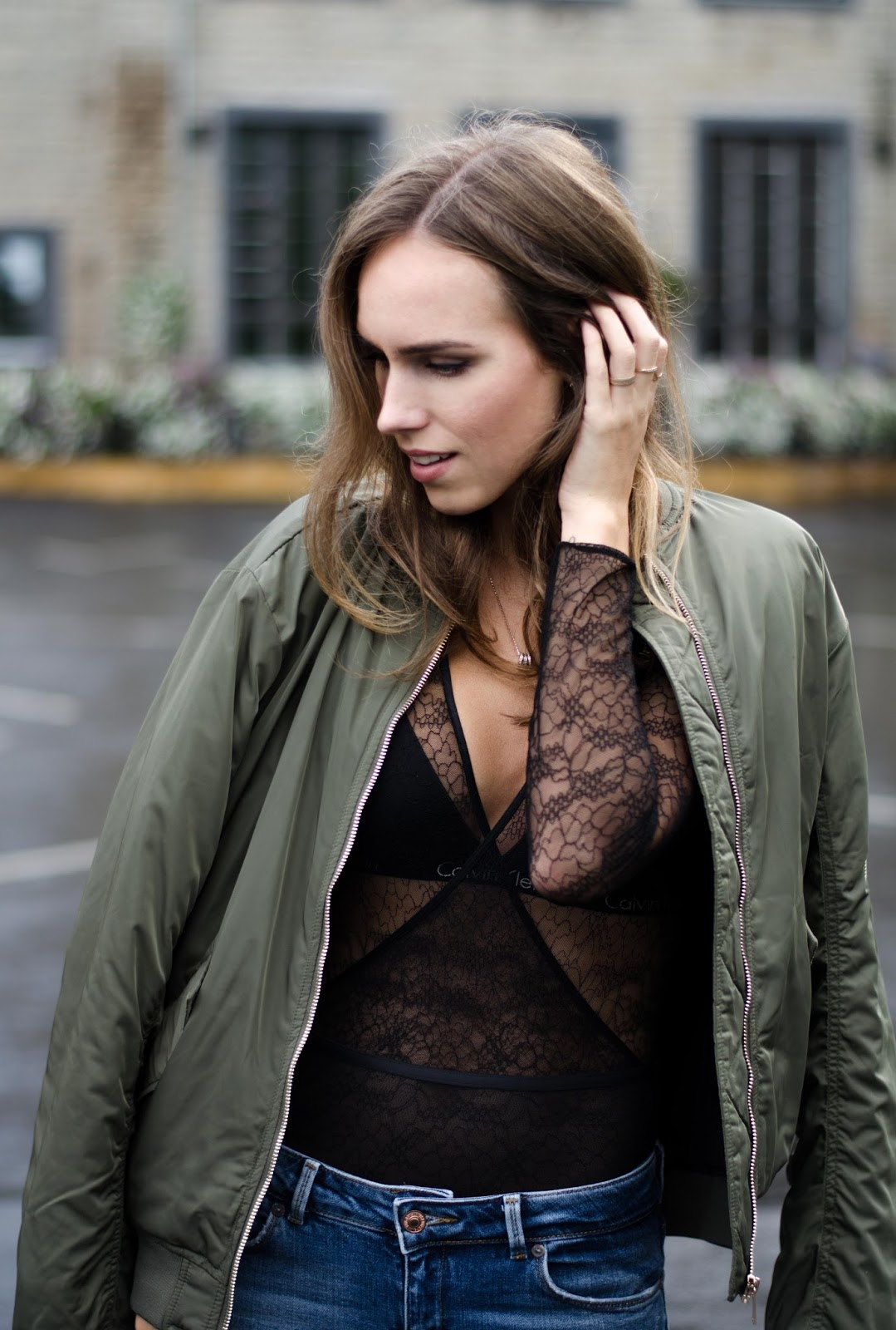 black lace body bomber jacket outfit